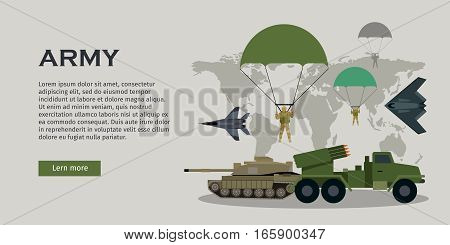 Different types of armed forces. Paratroopers, fighter jet, bomber, tank, reactive artillery flat vector illustrations world map on background. For warfare concepts, military service contract ad