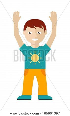 Male character in t-shirt with sun and yellow trousers with hands up isolated on white in flat design. Man template personnage illustration for fashion app, logos, infographic. Fashion boy. Vector