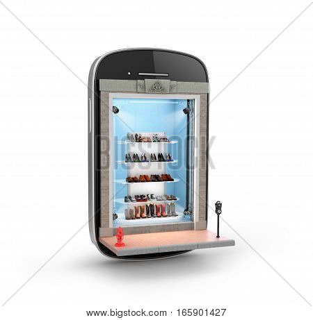 Shoe store. Store in a smartphone on a white background. 3D illustration