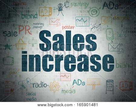 Advertising concept: Painted blue text Sales Increase on Digital Data Paper background with  Scheme Of Hand Drawn Marketing Icons