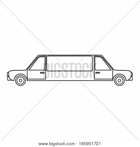 Limousine icon. Outline illustration of limousine vector icon for web
