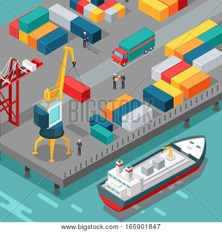 Port warehouse. Cargo containers transshipped between transport vehicles, for onward transportation. Platform supply vessel. Logistic support of goods, tools, equipment. Feeder ships. Vector