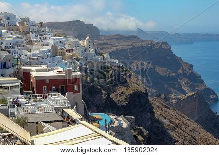 OIA, SANTORINI, GREECE - 13 August , 2016: View on caldera of Santorini island from Oia village at Santorini island