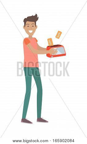 Discounts in electronics store concept. Smiling man standing with toaster bought on sale flat vector illustration isolated on white background. Shopping on holiday sellout. For shop promotions ad