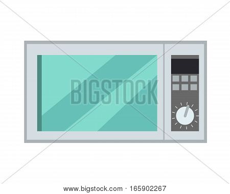 Microwave oven isolated on background. Microwave kitchen appliance that heats and cooks food by exposing it to microwave radiation in the electromagnetic spectrum. Vector in flat style