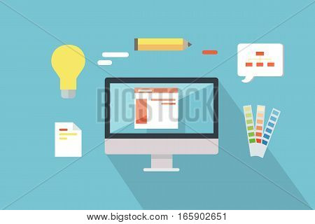 Web design conceptual vector. Flat style. Set of instruments for visual design. Monitor, color guide carts, pencil, bulb illustrations. Creative icons for designing process. Color matching