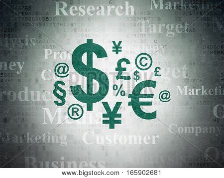 Advertising concept: Painted green Finance Symbol icon on Digital Data Paper background with  Tag Cloud