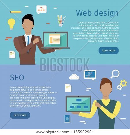 Web design, SEO conceptual web banners. Flat style. Man characters with computers presenting web content. For search engine optimization and web developing company landing page. Internet technologies