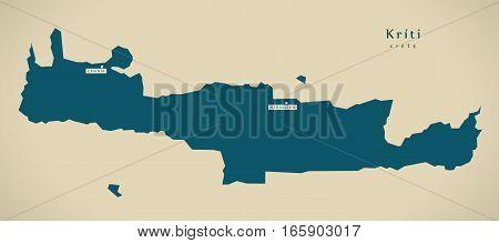Modern Map - Kriti Greece Gr Illustration