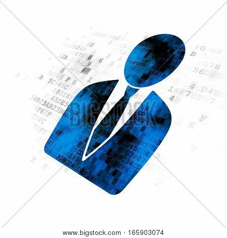 Advertising concept: Pixelated blue Business Man icon on Digital background