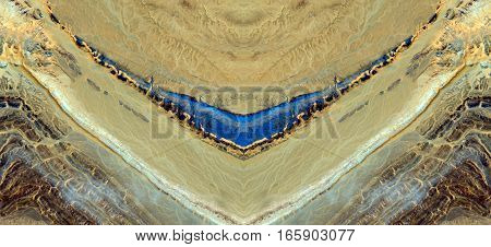 Effects of erosion on the desert stones, symmetrical photographs of landscapes of the deserts of Africa from the air,
