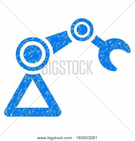 Manipulator Equipment grainy textured icon for overlay watermark stamps. Flat symbol with unclean texture. Dotted vector blue ink rubber seal stamp with grunge design on a white background.