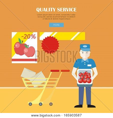 Quality service concept web banner vector in flat style. Worker in uniform with box of fresh tomatoes in hands. Sales and discounts in store. Illustration for retail shops ad and web pages design.