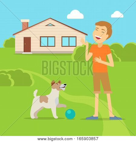 Sanguine temperament type boy playing on the yard with his adorable dog. Happy and cheerful man having fun with pet. Optimistic and social person near native home. Vector illustration in flat style