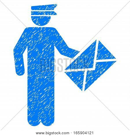 Postman grainy textured icon for overlay watermark stamps. Flat symbol with dirty texture. Dotted vector blue ink rubber seal stamp with grunge design on a white background.