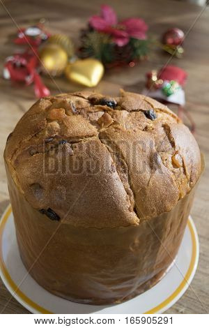 Italian Christmas cake called Italian Panettone with ornaments