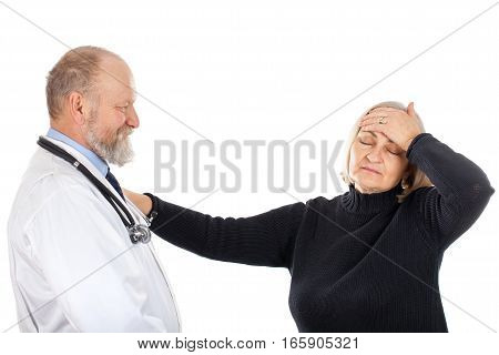 Picture of a nervous elderly woman with her doctor