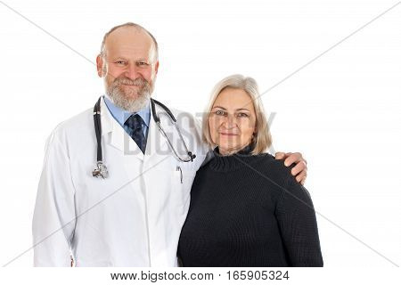Picture of a smiling middle-age woman with her kind doctor