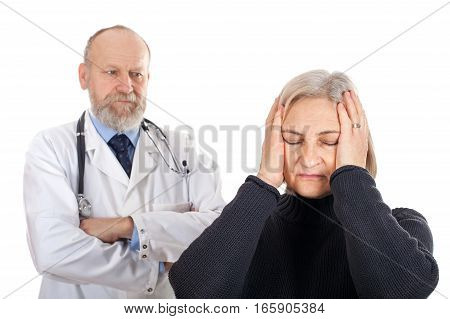 Picture of a worried middle-age woman with her doctor