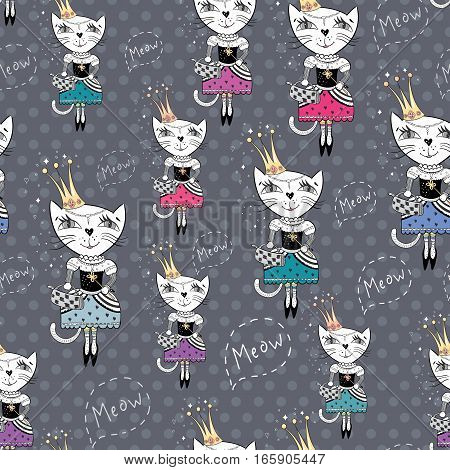 Cute royal girly texture with funny character on grey polka dot background for paper and textile design