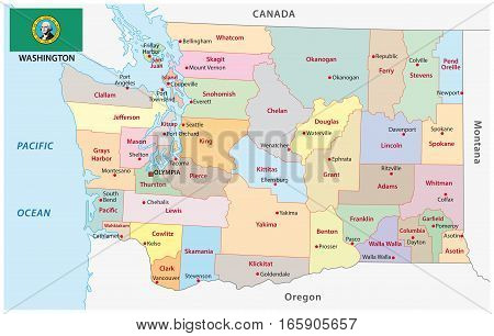 Administrative and political vector map of the US state of Washington with flag