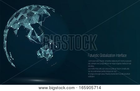 World Map Point. Australia And Oceania. Vector Illustration. Composition, Representing The Global Network Connection, International Meaning. Futuristic Digital Earth.