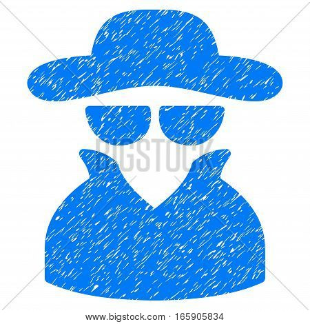 Spy grainy textured icon for overlay watermark stamps. Flat symbol with dirty texture. Dotted vector blue ink rubber seal stamp with grunge design on a white background.