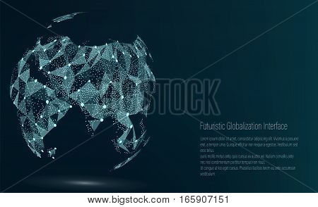 World Map Point. Asia. Vector Illustration. Composition, Representing The Global Network Connection, International Meaning. Futuristic Digital Earth.