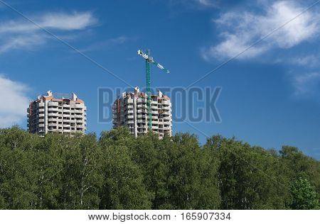 Two residential building construction in environmental place