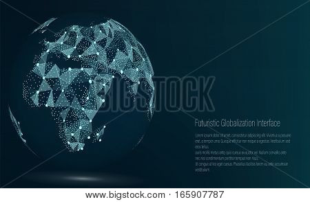 World Map Point. Africa. Vector Illustration. Composition, Representing The Global Network Connection, International Meaning. Futuristic Digital Earth.