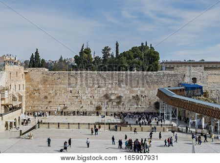Ancient Western Wall in Jerusalem is a major Jewish sacred place and one of the most famous public domain in the world, Jerusalem, Israel