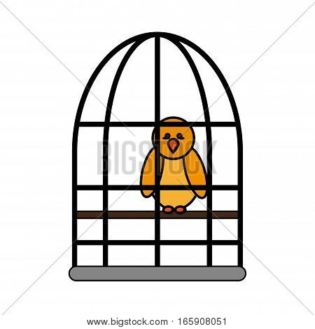 bird in a cage icon over white background. colorful design. vector illustration
