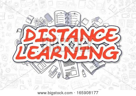 Distance Learning - Sketch Business Illustration. Red Hand Drawn Word Distance Learning Surrounded by Stationery. Cartoon Design Elements.