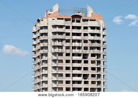 Top section of residential building constructed vertical view