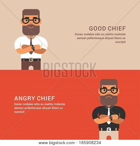 Expressions and emotions. Two horizontal web banners with male chief. Good and angry male chief. Flat colored vector illustration