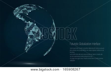 World Map Point. South America. Vector Illustration. Composition, Representing The Global Network Connection, International Meaning. Futuristic Digital Earth.