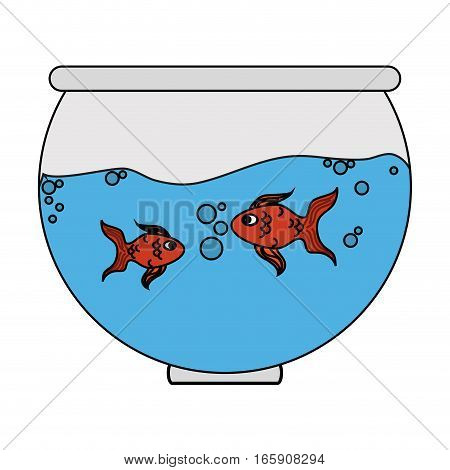 fishbowl cartoon icon over white background. colorful design. vector illustration