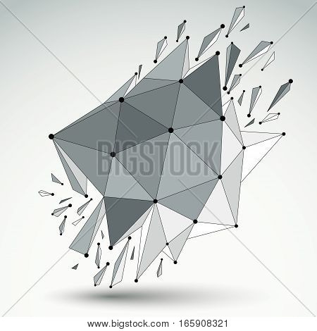 Perspective Technology Demolished Shape With Black Lines And Dots Connected, Polygonal Wireframe Obj