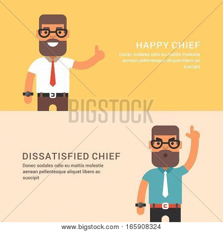 Expressions and emotions. Two horizontal web banners with male chief. Happy and dissatisfied man chief. Flat colored vector illustration