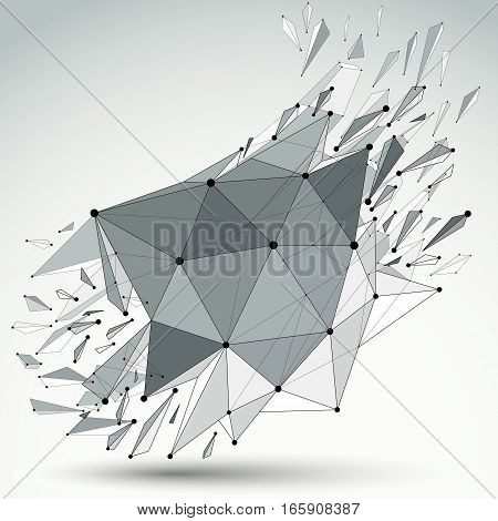 Perspective technology demolished shape with black lines and dots connected polygonal wireframe object. Explosion effect abstract faceted element cracked into multiple fragments.