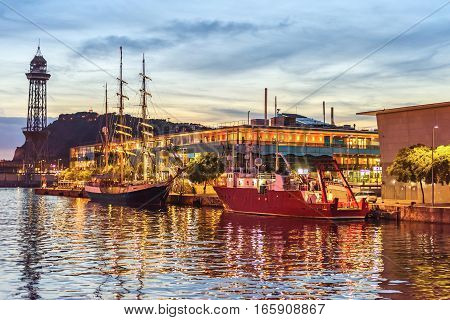 Port Vell Sailing boats at Sunset. Beautiful peaceful view Barcelona, Catalunya Spain