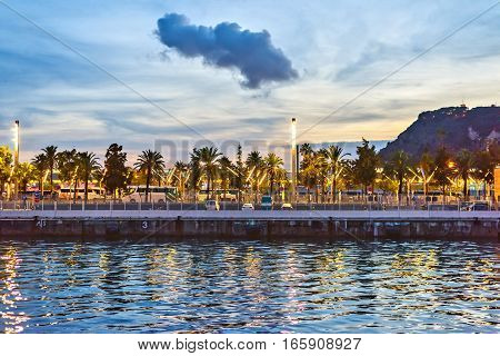 Port Vell at Sunset. Beautiful tranquille view Barcelona, Spain