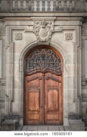 Door entrance to one of the halls at Christianborg palace in Copenhagen Denmark