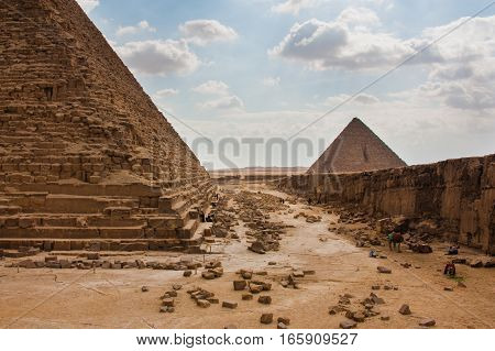 The Great Pyramid at Giza Plateau on the background of clouds