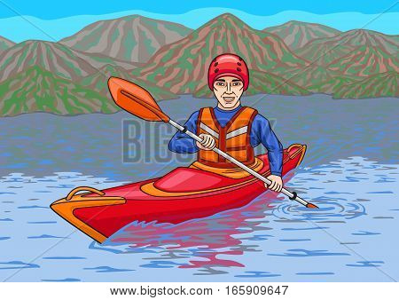 The athlete is in the kayak on the water surface.