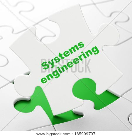 Science concept: Systems Engineering on White puzzle pieces background, 3D rendering