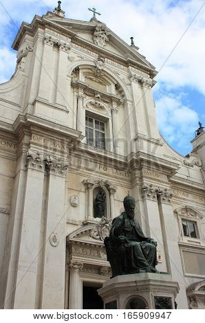 Statue of Pope Sixtus V in Loreto. Marche, Italy