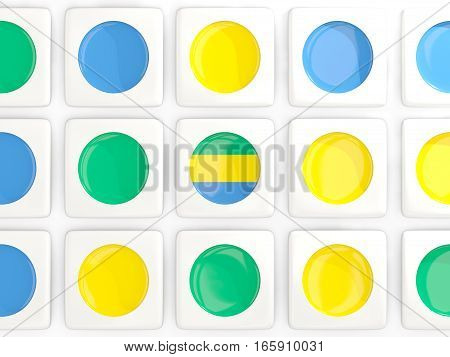 Mosaic Background With Flag Of Gabon