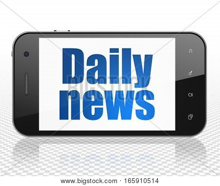 News concept: Smartphone with blue text Daily News on display, 3D rendering