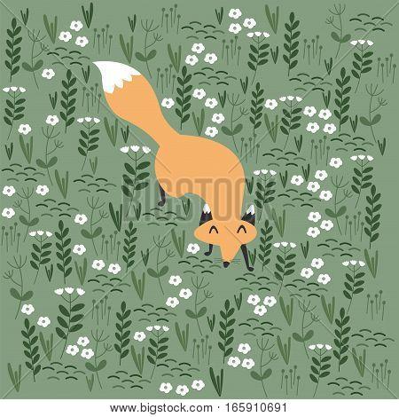 Cute red fox. Cartoon character. Vector illustration.